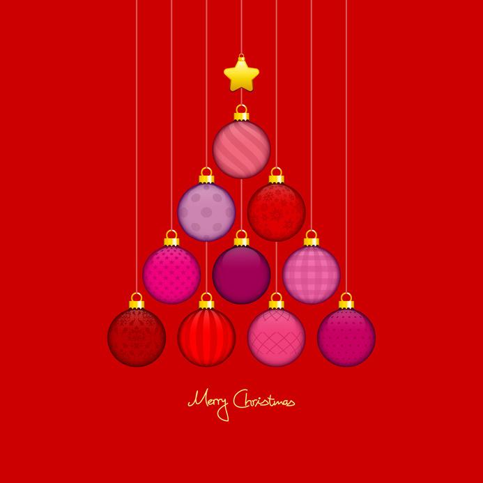 Christmas Tree Hanging Balls Pattern Red/Gold