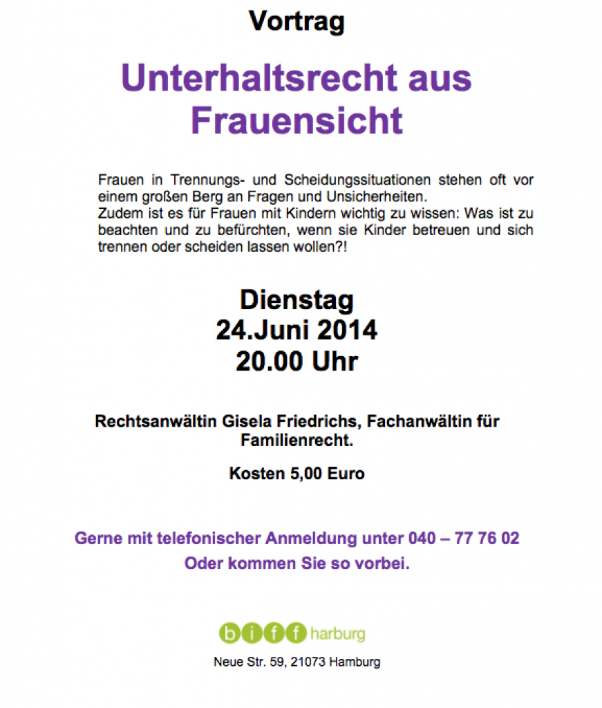 Familienrecht in Harburg - Fr. Gisela Friedrichs von der Kanzlei Recht am Ring -